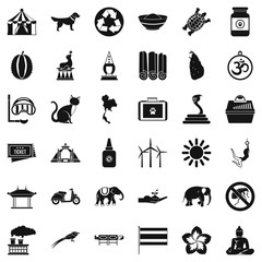 Clever elephant icons set, simple style
