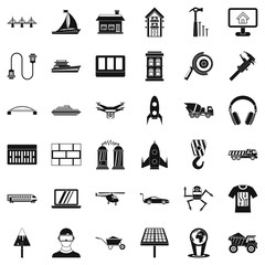 Engineering in industry icons set, simple style