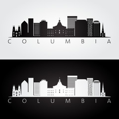 Columbia USA skyline and landmarks silhouette, black and white design, vector illustration.