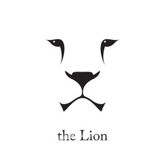 Vector image of an lion head on white background. Wild cat.