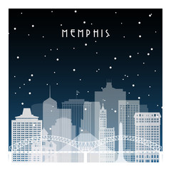 Winter night in Memphis. Night city in flat style for banner, poster, illustration, game, background.