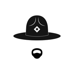 Sheriff avatar. Mustachioed policeman in circle hat. Vector illustration.