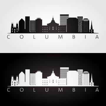 Columbia USA skyline and landmarks silhouette, black and white design, vector illustration.