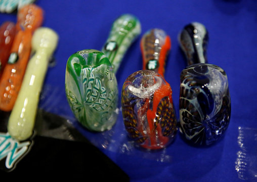 Smoking pipes are seen during the first day of the marijuana fair ExpoWeed in Mexico City
