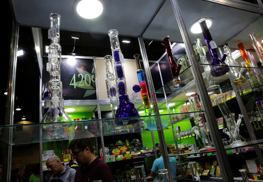 Water pipes are seen during the first day of the marijuana fair ExpoWeed in Mexico City,
