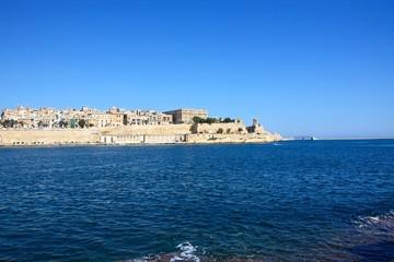 View across the Grand Harbour towards Valletta city seen from Vittoriosa, Valletta, Malta.