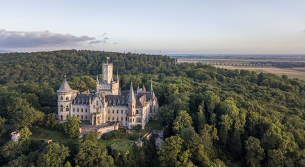 Aerial view of a Gothic revival Marienburg castle in Lower Saxony, Germany