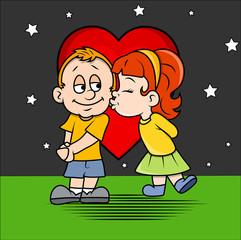 Romantic Cartoon Kid Couple at Night