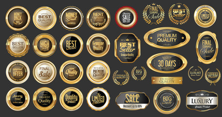 Luxury gold and silver design badges and labels collection