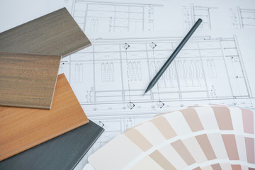 color and material samples on architectural drawings of the modern house