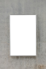 blank billboard on concrete wall