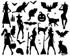 Halloween stickers. Witch, pumpkin, black cat. Halloween party.