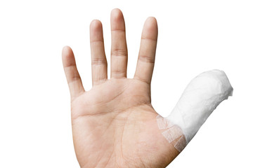 thumb with bandage isolated on white background.