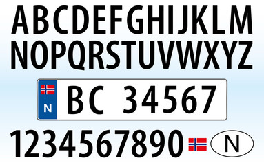Norway car plate, letters, numbers and symbols