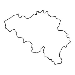 Belgium map of black contour curves of vector illustration