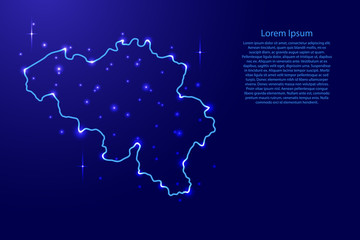 Map Belgium from the contours network blue, luminous space stars of vector illustration