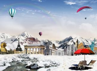 World landmarks among the mountains