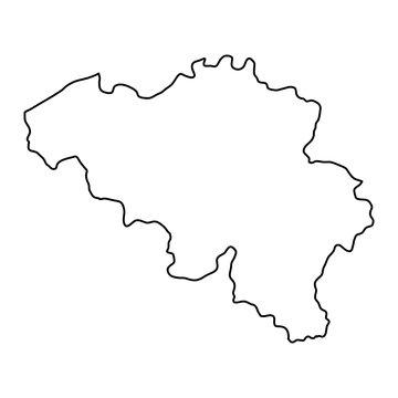 Belgium map of black contour curves of vector illustration