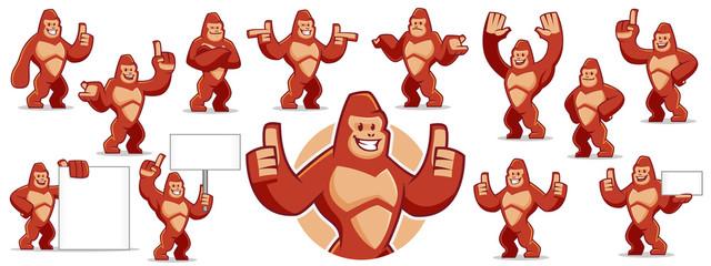 Gorilla mascot character set