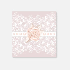 invitation card with lace decoration for wedding, birthday, Valentine's day and other holidays. Template vector frame.