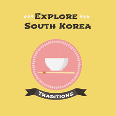 Traditional food of South Korea vector illustration