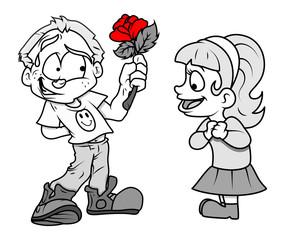 Boy Presenting Flower to a Cute Girl