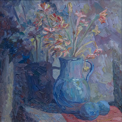 Still life written in oil. A bouquet of spring flowers in a blue vase