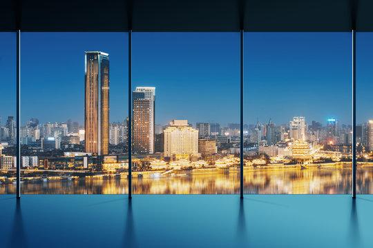 shanghai skyline outside the window