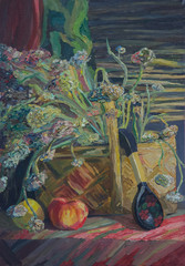 Still life written in oil. A bouquet of autumn flowers in a basket, a black spoon with a painting and an apple