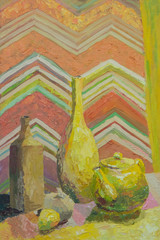 Still life written in oil. Bottles and teapot in yellow with orange drapery