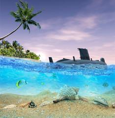 Submarine near the tropical island