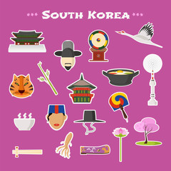 Travel to Korea, Seoul vector icons set. South Korean landmarks, nature, traditions and culture