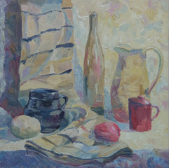 Still life written in oil. Bottle, pitcher, mug and vegetables on the table with drape