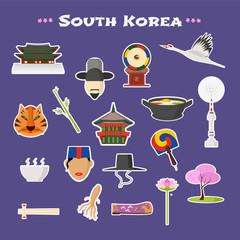 Travel to South Korea vector icons set