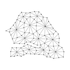 Senegal map of polygonal mosaic lines network, rays and dots vector illustration.