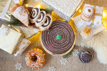 Christmas cakes and gifts