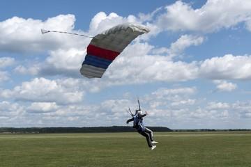 Russia, Kolomna, Aerograd, Landing skydiver.