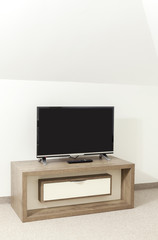 small wooden shelf for the TV
