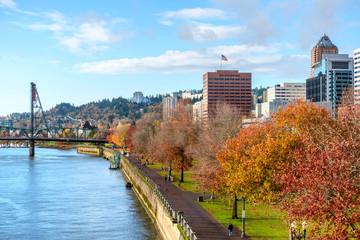 Portland city skyline at autumn