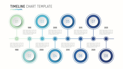 Timeline chart infographic template for data visualization. 8 steps