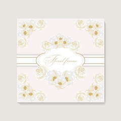 Greeting card with bouquet flowers for wedding, birthday and other holidays.