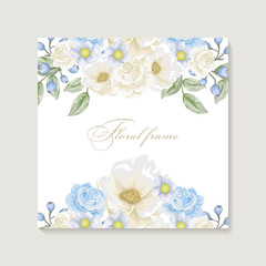 Greeting card with bouquet flowers for wedding, birthday and other holidays. Floral angle.