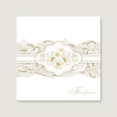 Greeting card with bouquet flowers for wedding, birthday and other holidays. Floral  frame