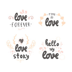 Set of cute hand drawn positive vector lettering about love. The beauty brush modern calligraphy for prints, posters, phone case, scrapbook, valentines day, wedding typography. Vintage style.