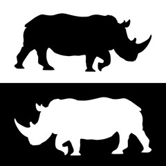 Rhino. Black and white silhouettes