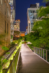 The High Line promenade at night in the heart of Chelsea. Manhattan, New York City