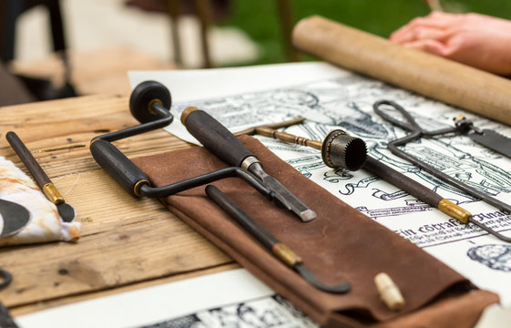 Medieval medical instruments for performing a surgical operation close-up