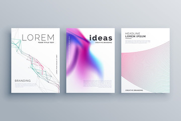 abstract line shape and fluid style covers set in modern hipster template design