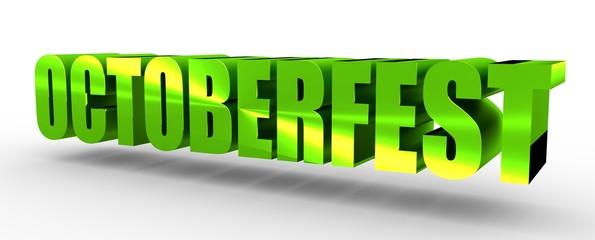 Octoberfest isometric word. Green metallic material. 3D rendering