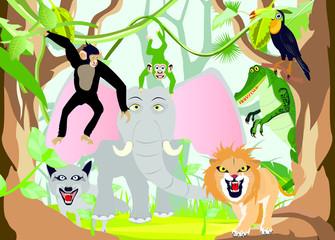 Cartoon vector animals in jungles vector illustration